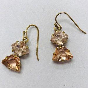 Sorrelli Apricot 2-stone Crystal Dangle, NWT